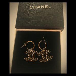 Vintage CHANEL Reversible Black Crystal Earrings